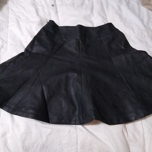 NWT Express Black Leather Pleated Miniskirt Size 0